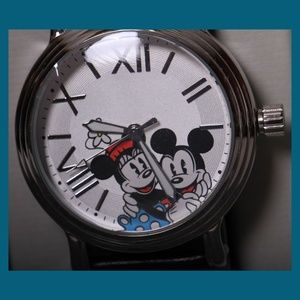 Mickey & Minnie on Dial - Black Leather Watch